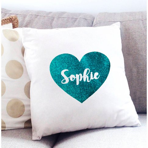 Personalised Glitter Heart Cushion Cover, Pink/Teal/...
