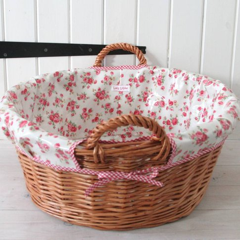 Oilcloth Lined Laundry Basket, Blue/Red