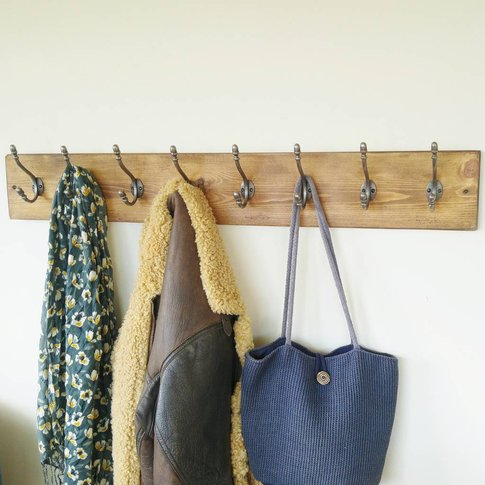 Vintage Style Natural Wood Coat Rack