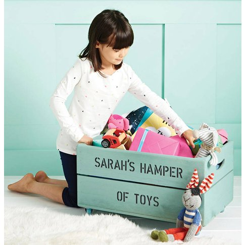 Personalised Wooden Storage Toy Box, Blue/Pink/Lime ...