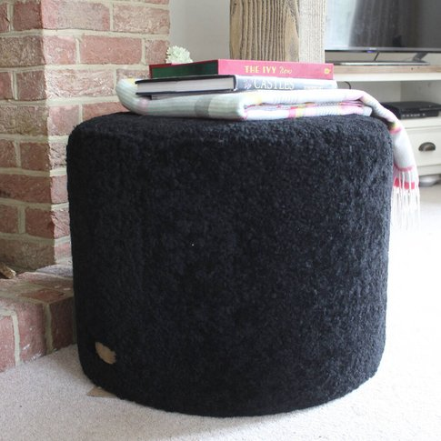 Black Curly Sheepskin Round Pouffe