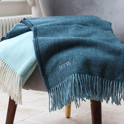 Monogrammed Herringbone Wool Throw