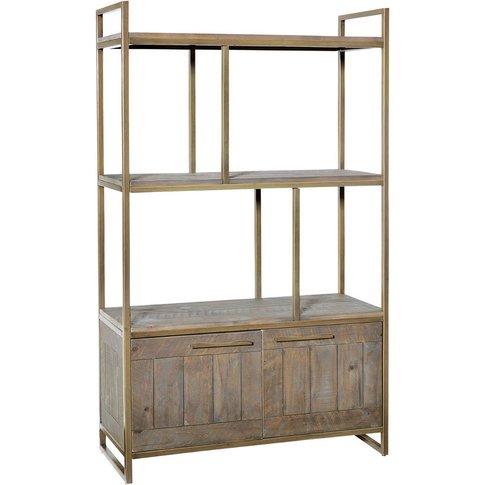 Hadley Nutmeg Bookcase With Cupboard