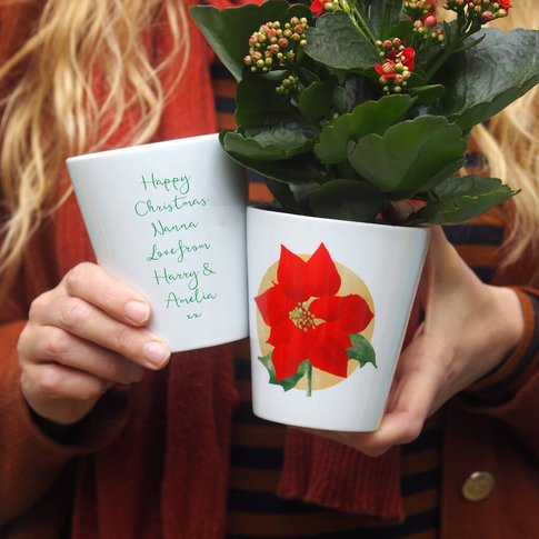 Poinsettia Personalised Plant Pot Christmas Gift