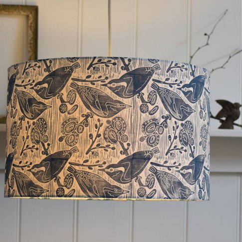 Nuthatches And Willow Handcrafted Lampshade And Base