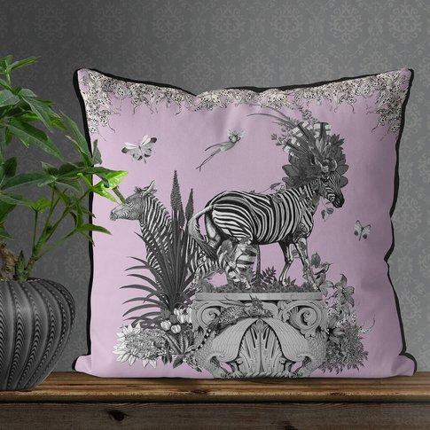 Tropical Zebra Cushion In Blush Pink
