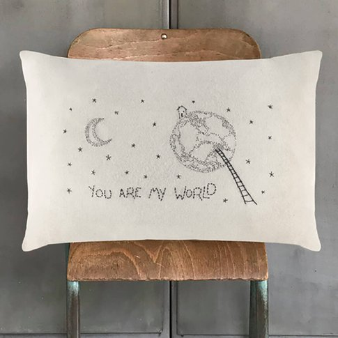 You Are My World Embroidered Cushion
