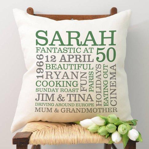 Personalised 50th Birthday Word Art Cushion, Cream/Red/Grey