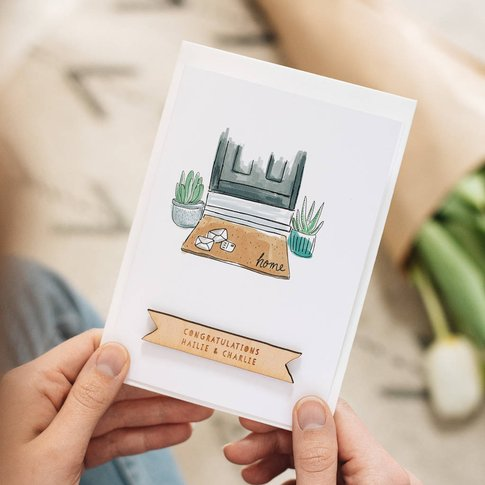 Personalised Doormat New Home Card