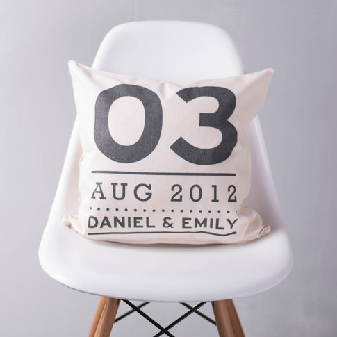 Personalised Couples Special Date Cushion, Black