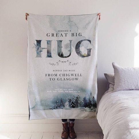 Personalised 'Hug Across The Miles' Winter Blanket