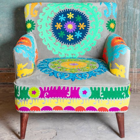 Multicolour Embroidered Velvet Armchair