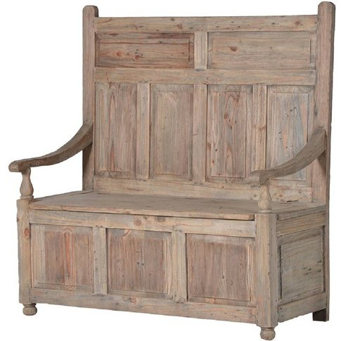Reclaimed Pine Panelled Storage Monks Bench