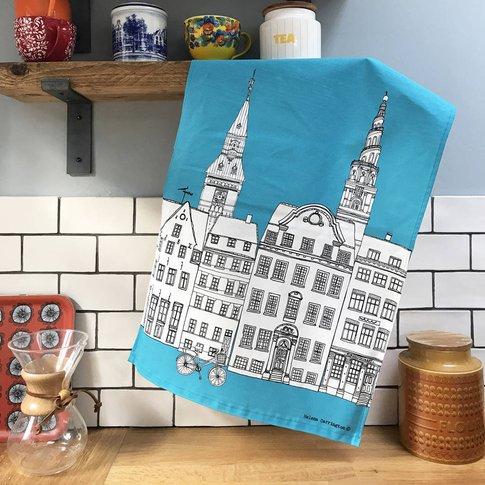 Copenhagen Skyline Print Tea Towel