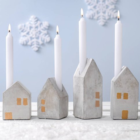 Four Concrete House Advent Candle Holders