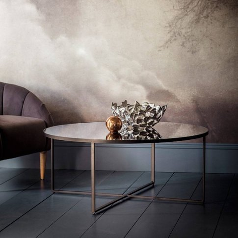 Round Smoked Glass Mirrored Coffee Table