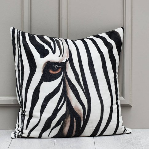 Zebra Graphic Velvet Cushion