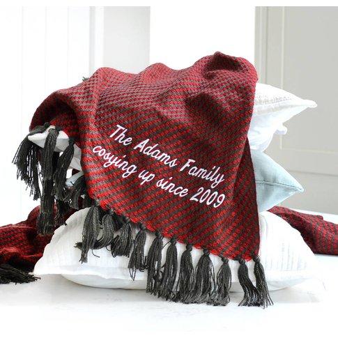 Personalised Red And Black Luxury Tassel Throw