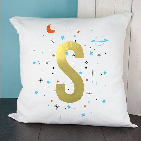 Gold Letter Space Cushion, Pink/Blue