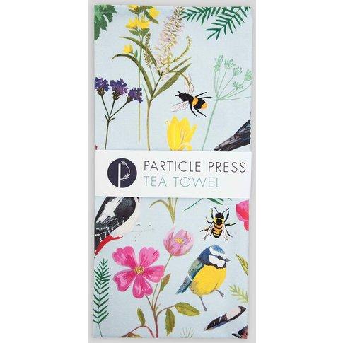 Cornish Garden Birds And Florals Tea Towel