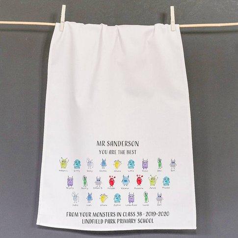 Personalised Teacher's Little Monster Tea Towel