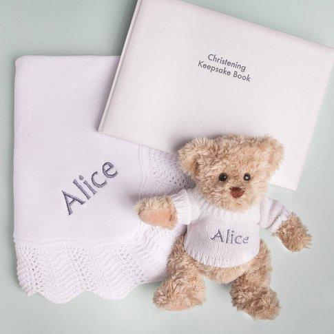 Personalised Bear, Crochet Blanket And Keepsake Book