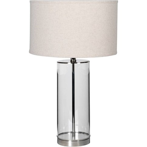 Glass Based Silver Table Lamp