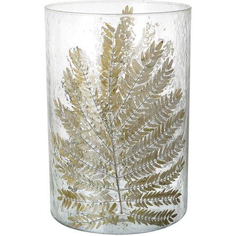 Fern Leaf Glass Hurricane Vase