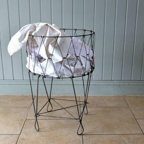 Fold Down Retro Wirework Laundry Basket