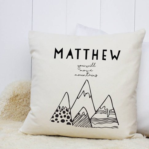 Personalised 'You Will Move Mountains' Cushion Case