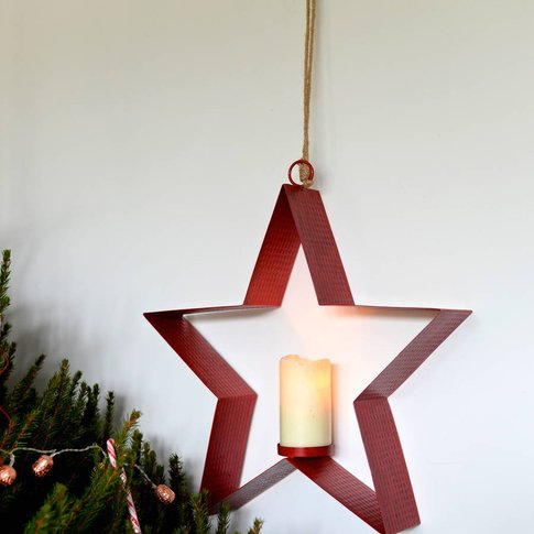 Large Red Hanging Star Candle Holder