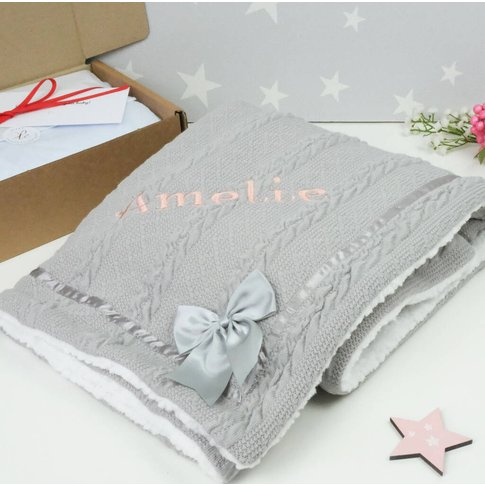 Personalised Knitted Grey Blanket With Bow