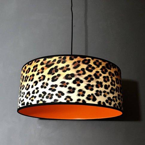 Wild Leopard Print Lampshade With Neon Orange Lining