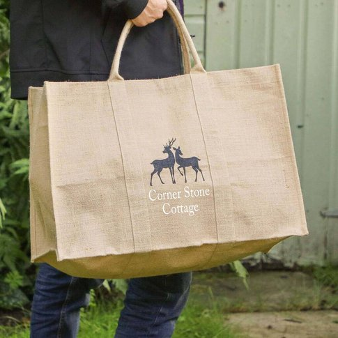 Personalised Deer Eco Jute Garden Storage Bag