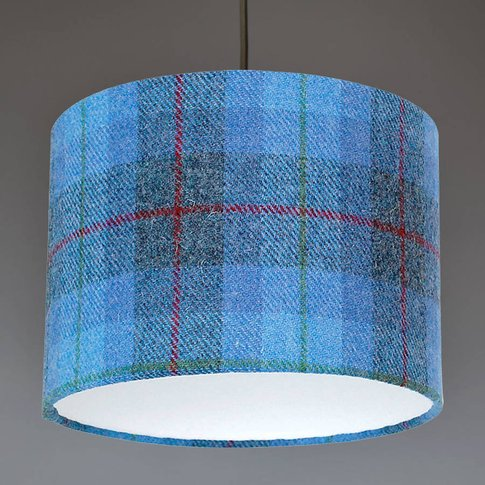 Blue Check Harris Tweed Lampshade, Blue