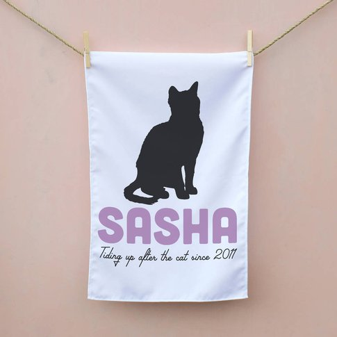 Personalised Cat Tea Towel