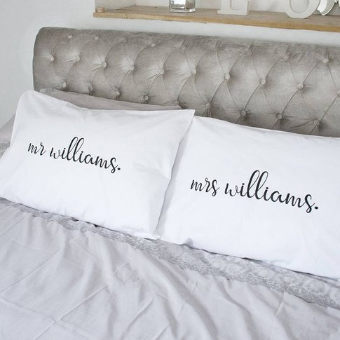 Wedding Mr And Mrs Personalised Pillow Case Set