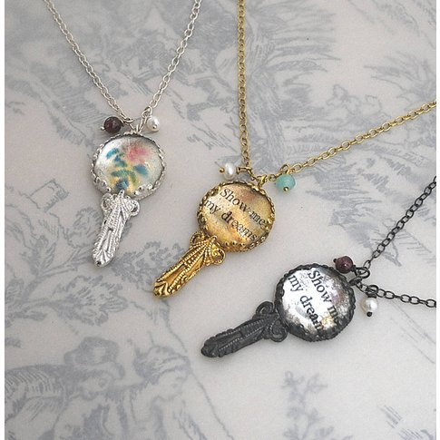 Victorian Mirror Necklace With Parsonalised Message