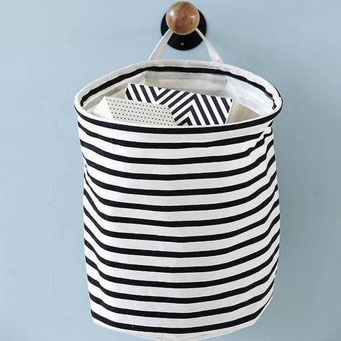 Nautical Striped Handled Laundry Basket / Bag
