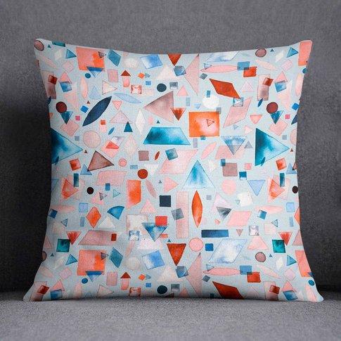 Watercolour Geometric Shapes Cushion Laura Munoz