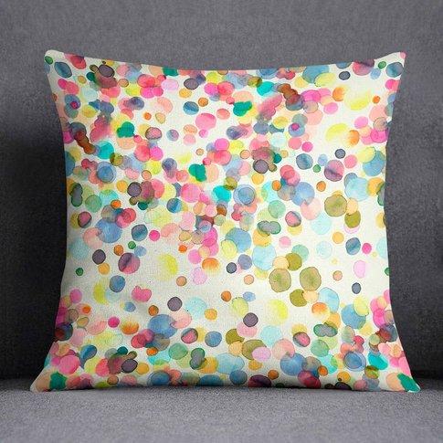Watercolour Paint Dots Polka Dot Cushion Laura Munoz