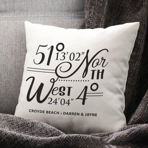 Personalised Coordinates Cotton Cushion