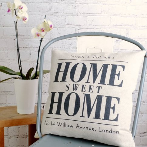 Personalised 'Home Sweet Home' Cushion, Black/White