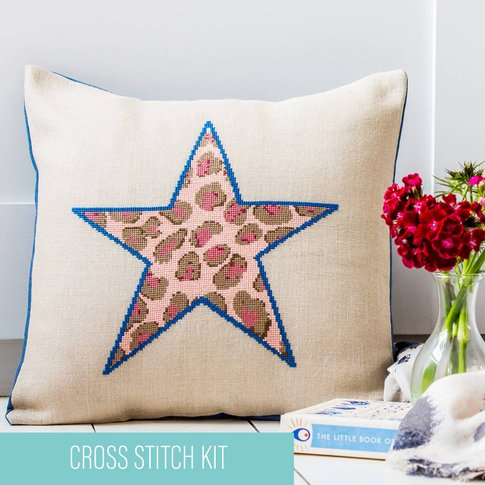 Leopard Print Star Cross Stitch Cushion Kit