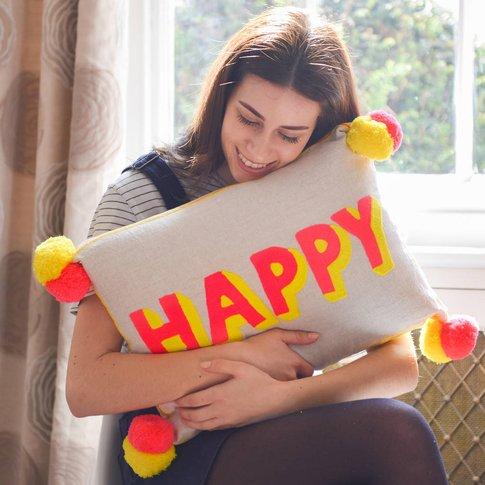 Embroidered Bright Happy Pom Pom Cushion