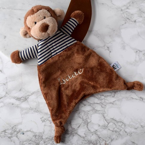 Personalised Striped Monkey Soother Blanket