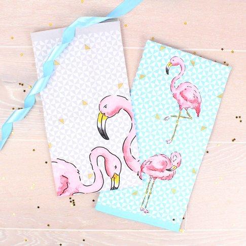 Tropical Flamingo Set Of Two Tea Towels