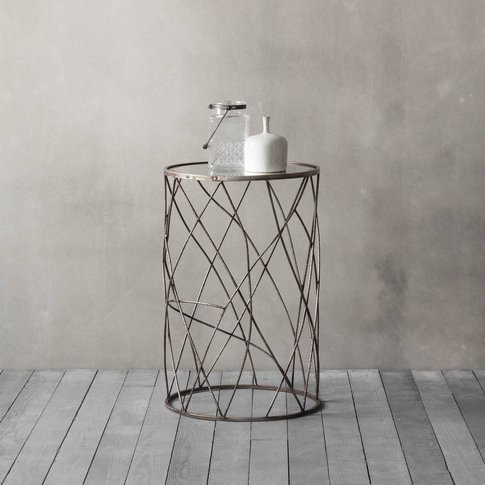 Mirror Topped Metal Side Table