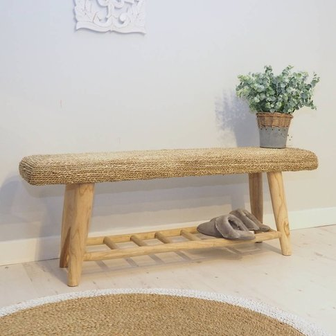 Wooden Hallway Bench With Shelving
