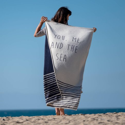 You, Me And The Sea Recycled Blanket